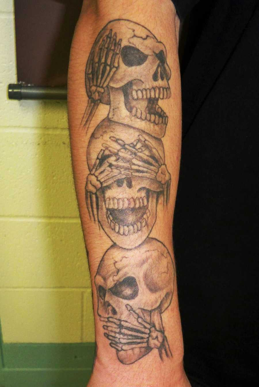 "Barajas has a tattoo of a ""B"" and a skull on his left forearm, and three large skulls on his right forearm."