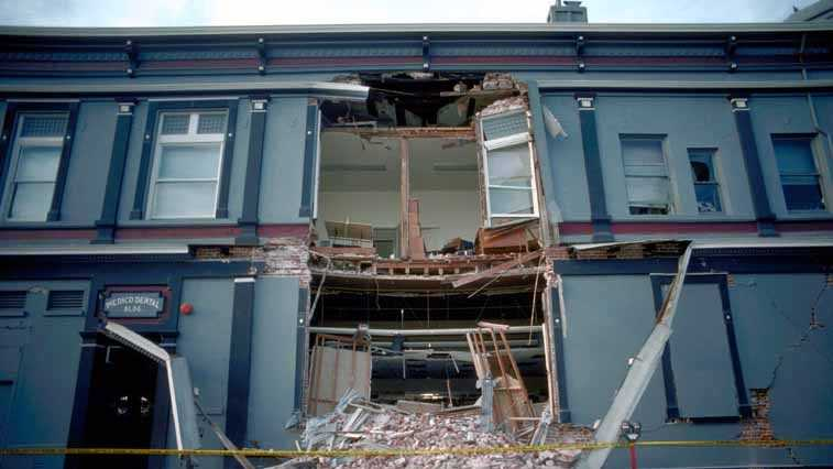 The Medico Dental Building on the Pacific Garden Mall in downtown Santa Cruz was heavily damaged in the 1989 Loma Prieta earthquake.