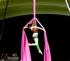 Olivia dances in the air.
