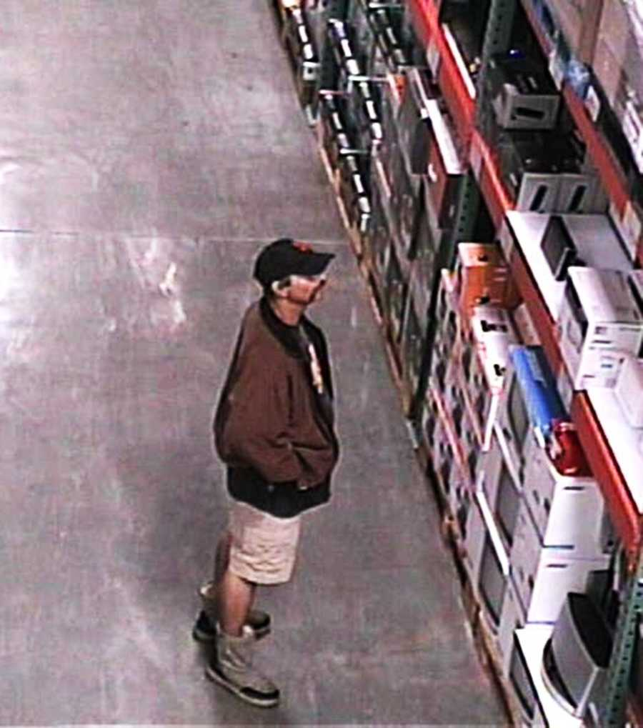 Surveillance cameras in Costco recorded a man stealing expensive electronic items, including laptops and stereo speakers, in July and August.