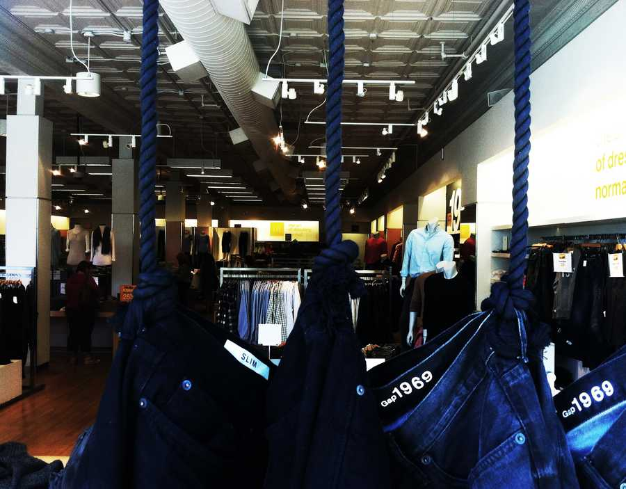Gap store employees changed how the jeans were hung and ropes were knotted on Wednesday.