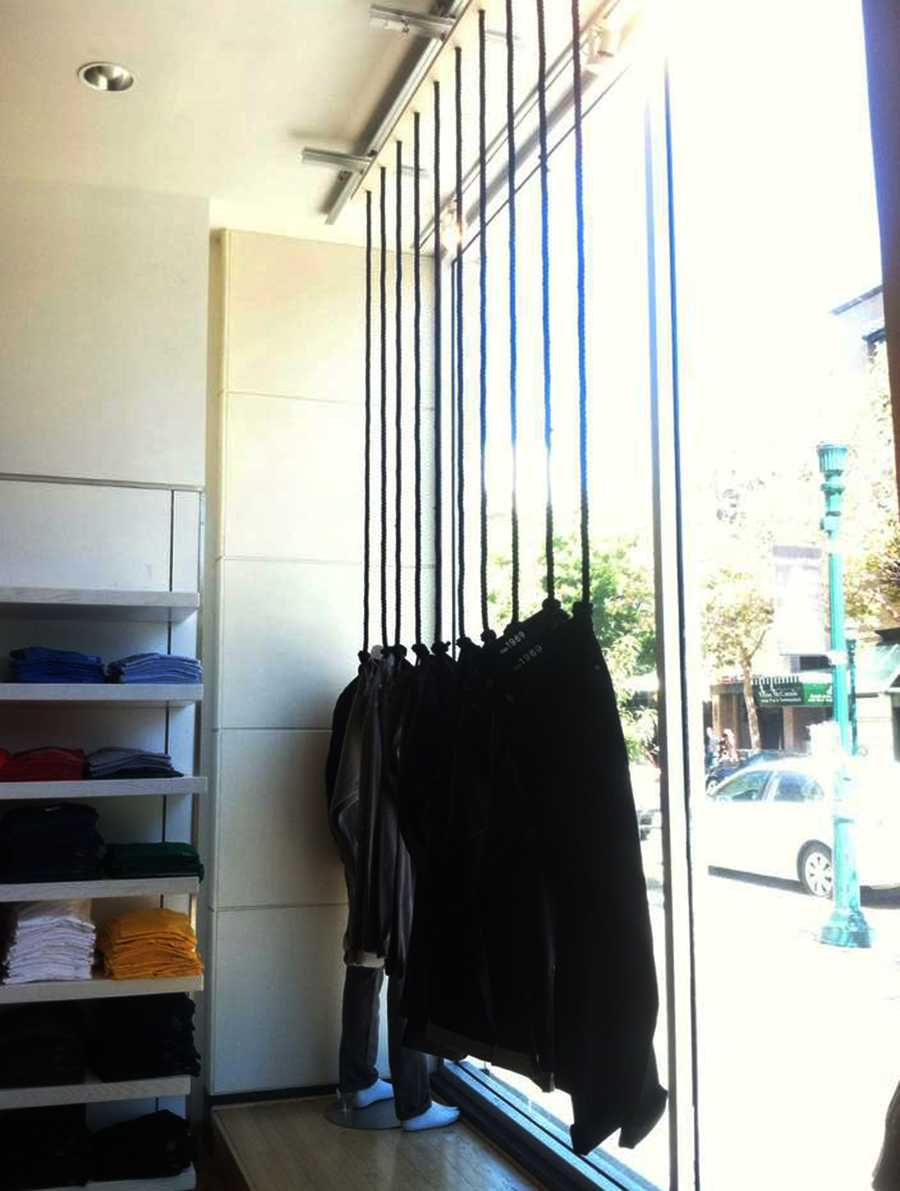 The window display was changed Wednesday when Gap re-tied the ropes so that there was no longer a loop above the black jeans.