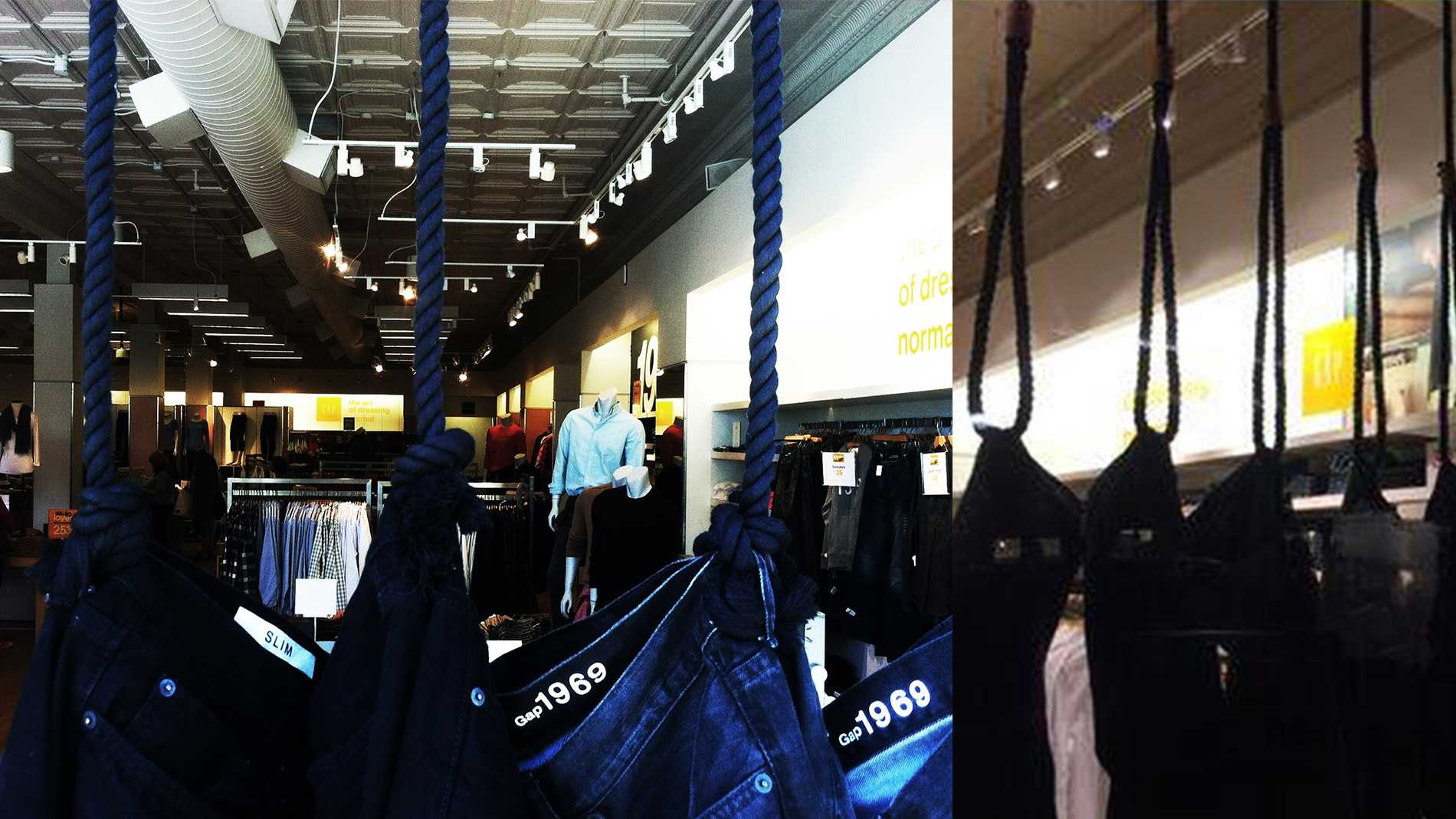 On Wednesday, left, the Gap store in Santa Cruz changed its window display from how it looked on Tuesday, right.