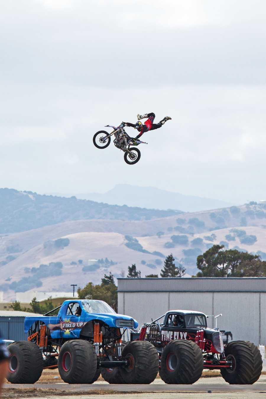 A daredevil motorcyclist catches some air.