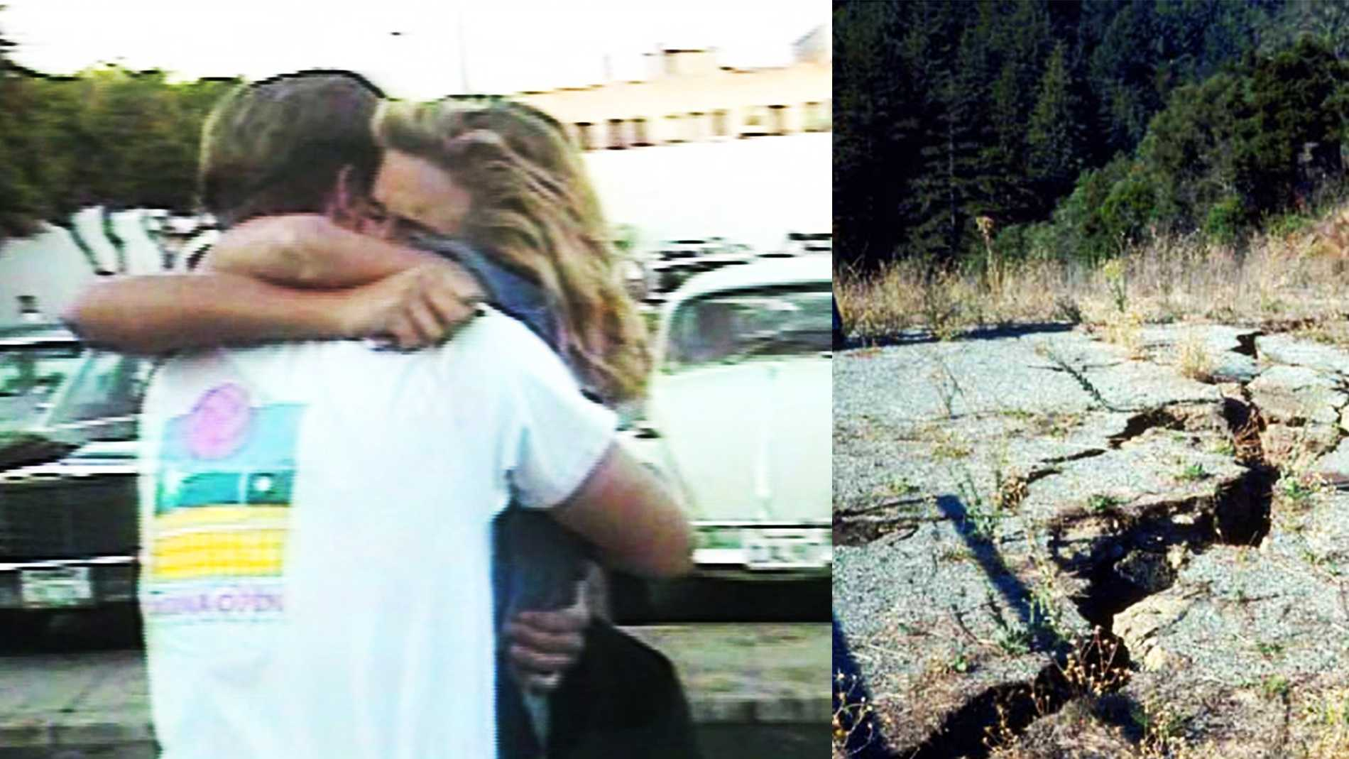 Two people embrace in downtown Santa Cruz immediately after the quake. A large split shows where the ground cracked in the Santa Cruz Mountains.