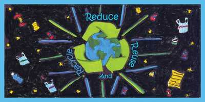 Drawing by Kira Thomasser, 8th grade, Mission Hill Middle School. Look for these students' colorful recycling messages as trucks make weekly rounds through your neighborhood!