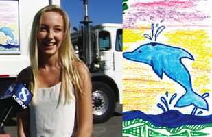 """Each year the City of Santa Cruz hosts a poster contest, """"Santa Cruz Recycles,"""" for students in grades K-12 to promote community recycling. Artwork by four students was enlarged and will be displayed on the sides of city recycling trucks for a year."""