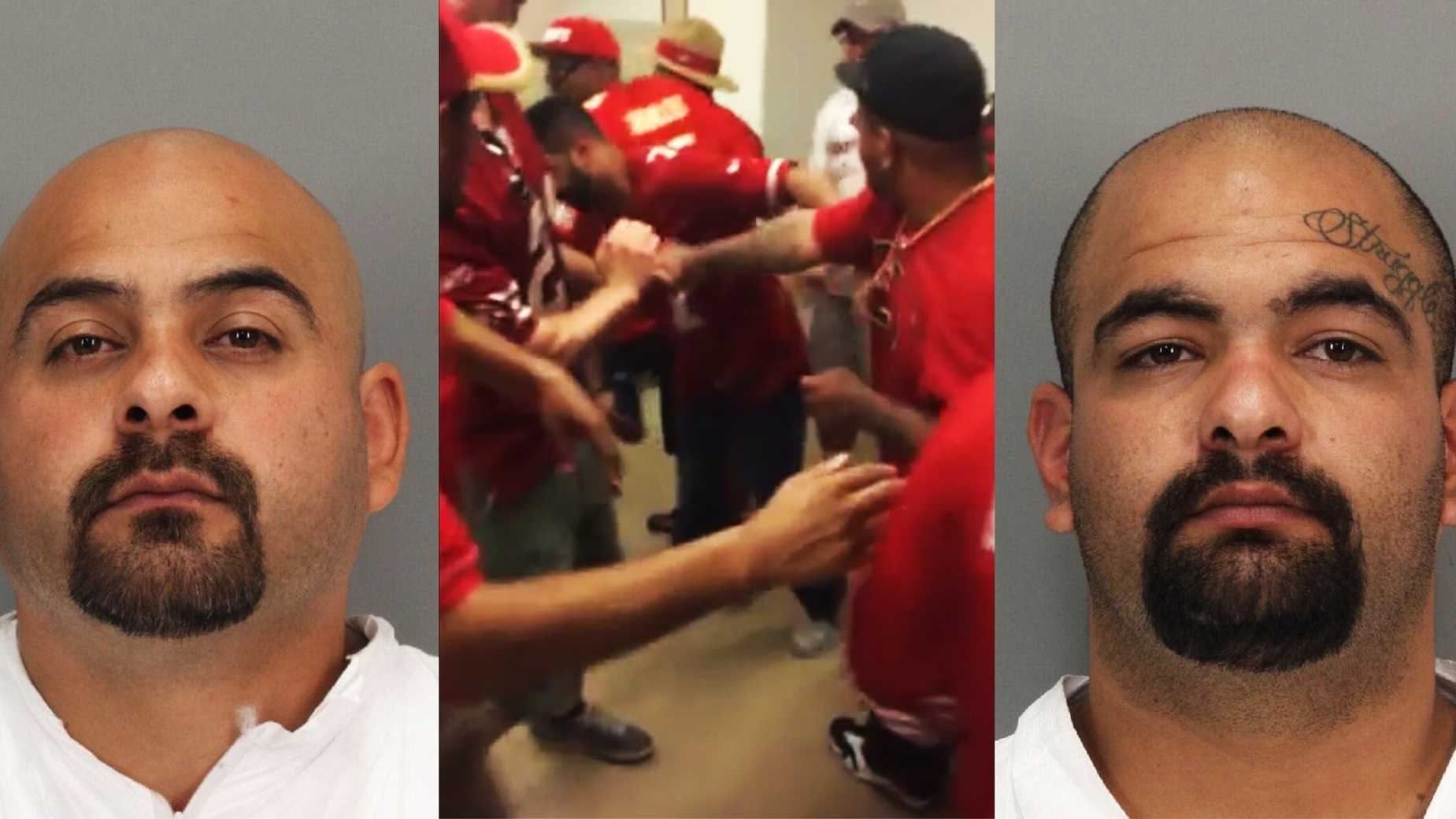 Amador Rebollero and Dario Rebollero were arrested at the 49ers vs. Chiefs game Sunday.