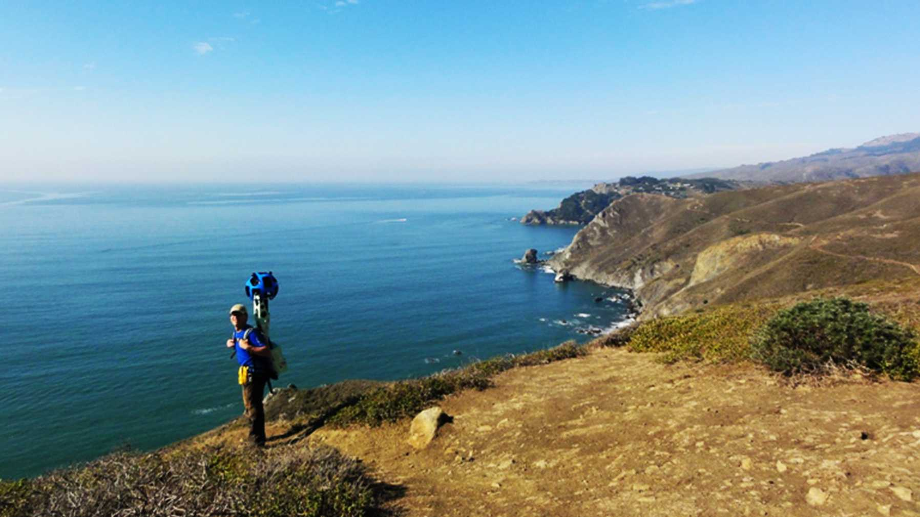 A Google Trekker is seen mapping Big Sur.