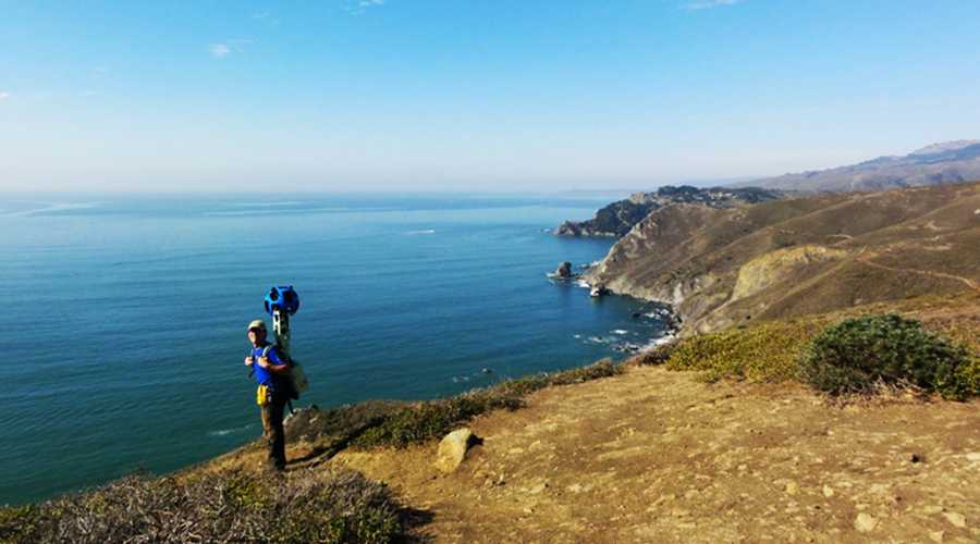 A Goolge Trekker is seen mapping Big Sur.