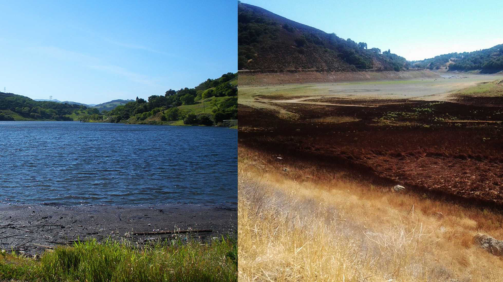 The Chesbro Reservoir is seen in April 2010 on the left, and in October 2014 on the right.