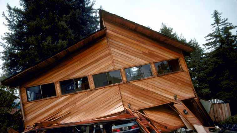 A Boulder Creek house collapsed during the 1989 Loma Prieta earthquake.