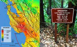 The 1989 Loma Prieta Earthquake's epicenter is deep in The Forest of Nisene Marks State Park. Its GPS coordinates are 37.036 N, 121.883 W.