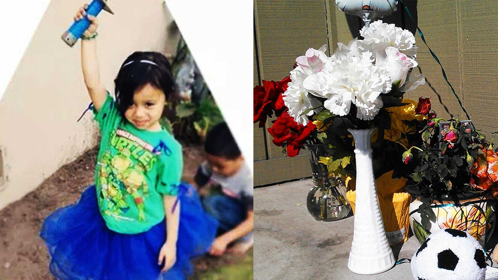 Flowers and stuffed animals were left where Jaelyn Marie Zavala was shot.