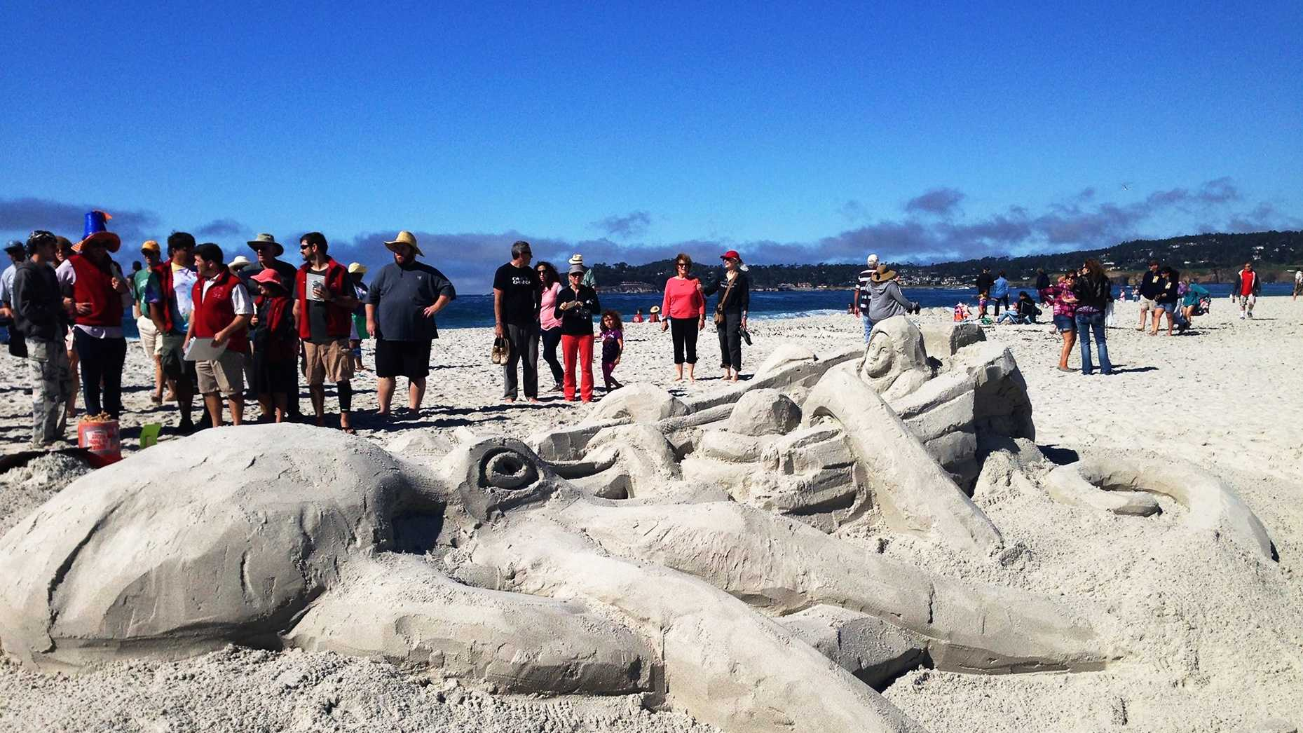 This octopus sand sculpture won 1st place at Carmel Beach. (Oct. 2014)