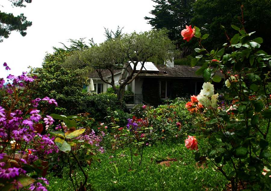 Sweeping ocean views and colorful rose gardens surround the beautiful peaceful home.
