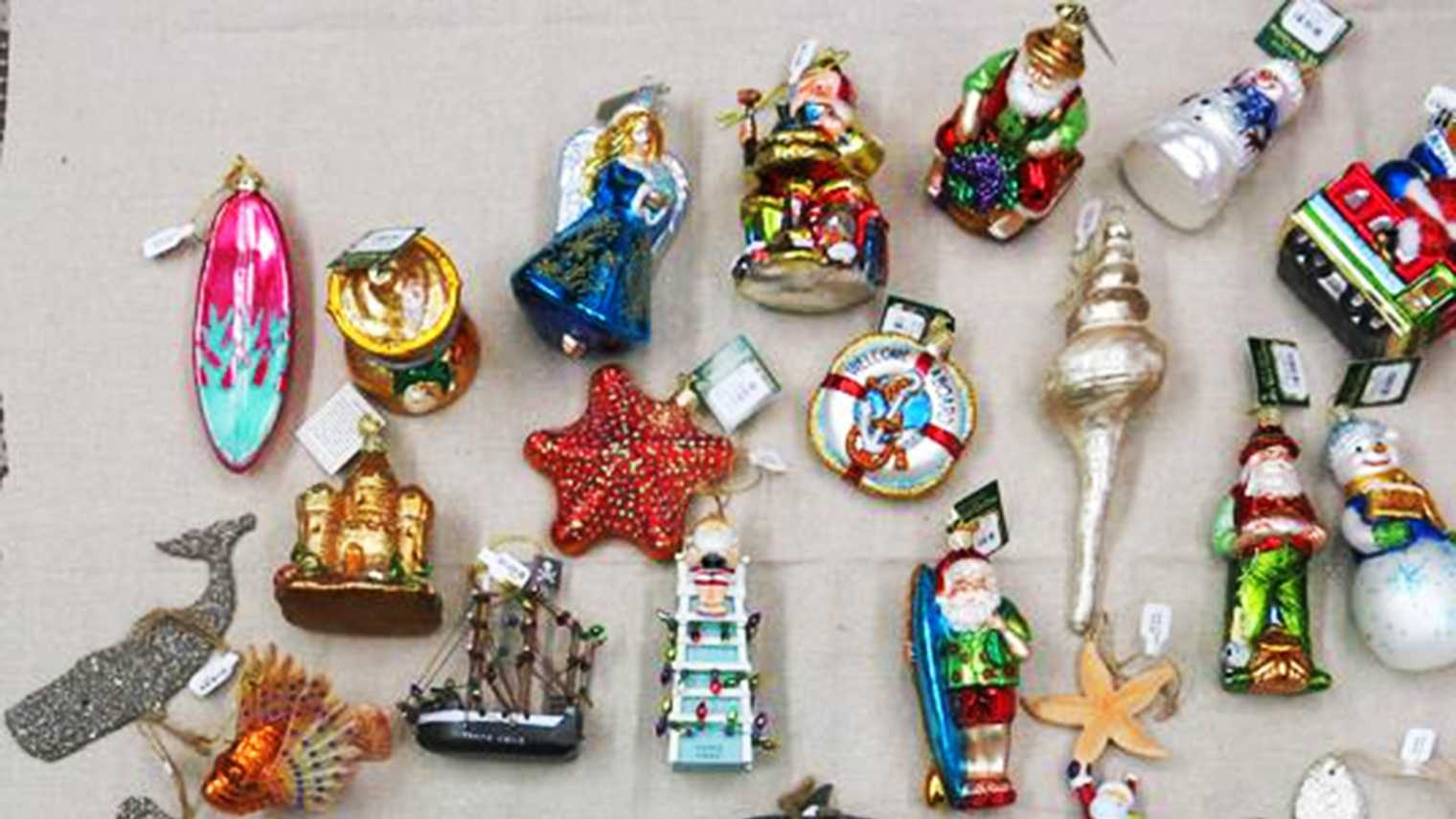 A few of the stolen Christmas ornaments are seen.
