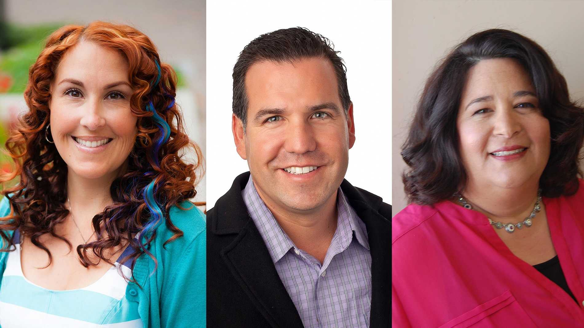 Winners: Cynthia Chase, left, David Terrazas, and Richelle Noroyan were elected to the Santa Cruz County Council.