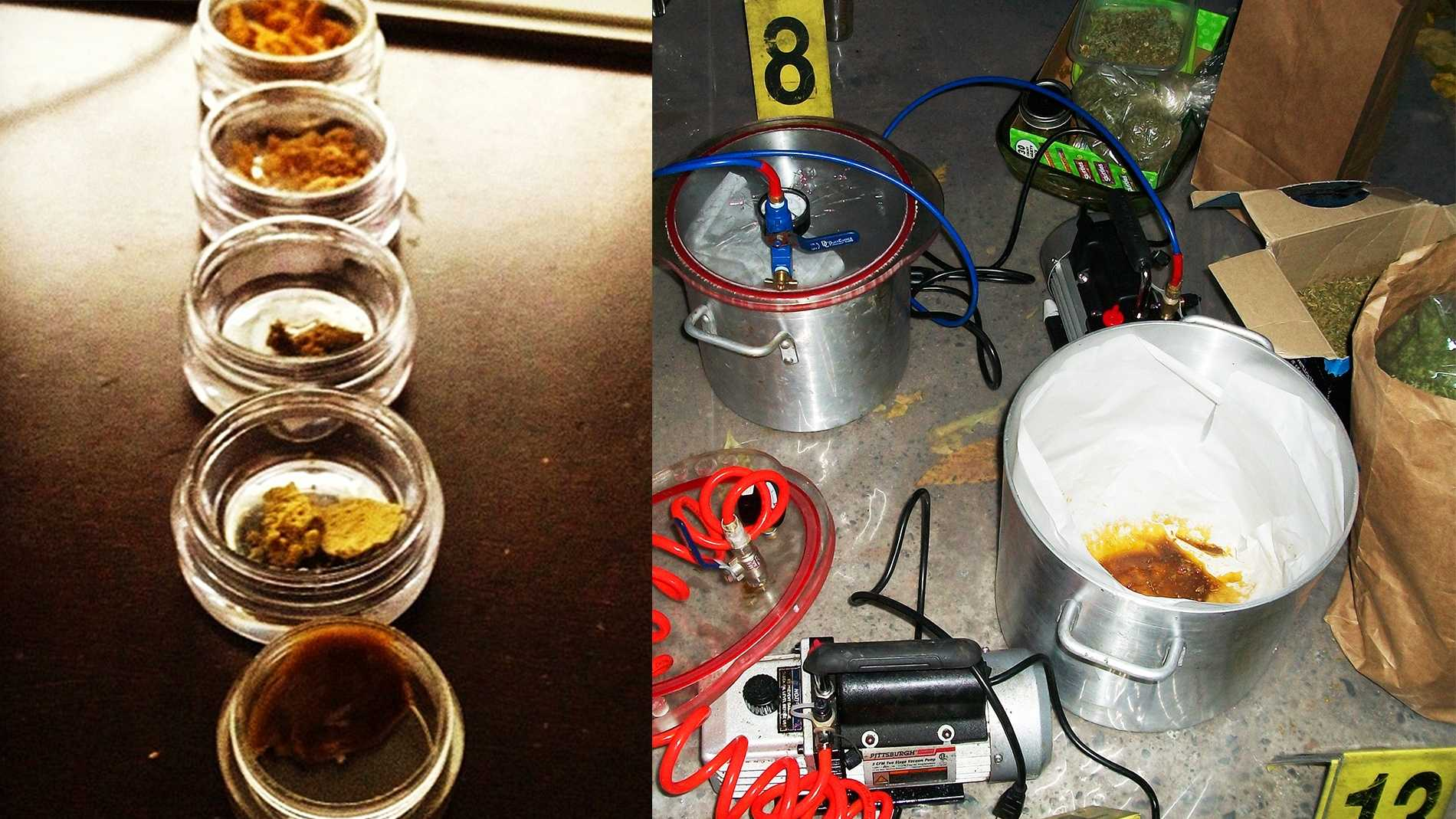 Honey oil, left. A secret honey oil lab discovered in a Gilroy house where an 11-month-old baby played nearby, right.