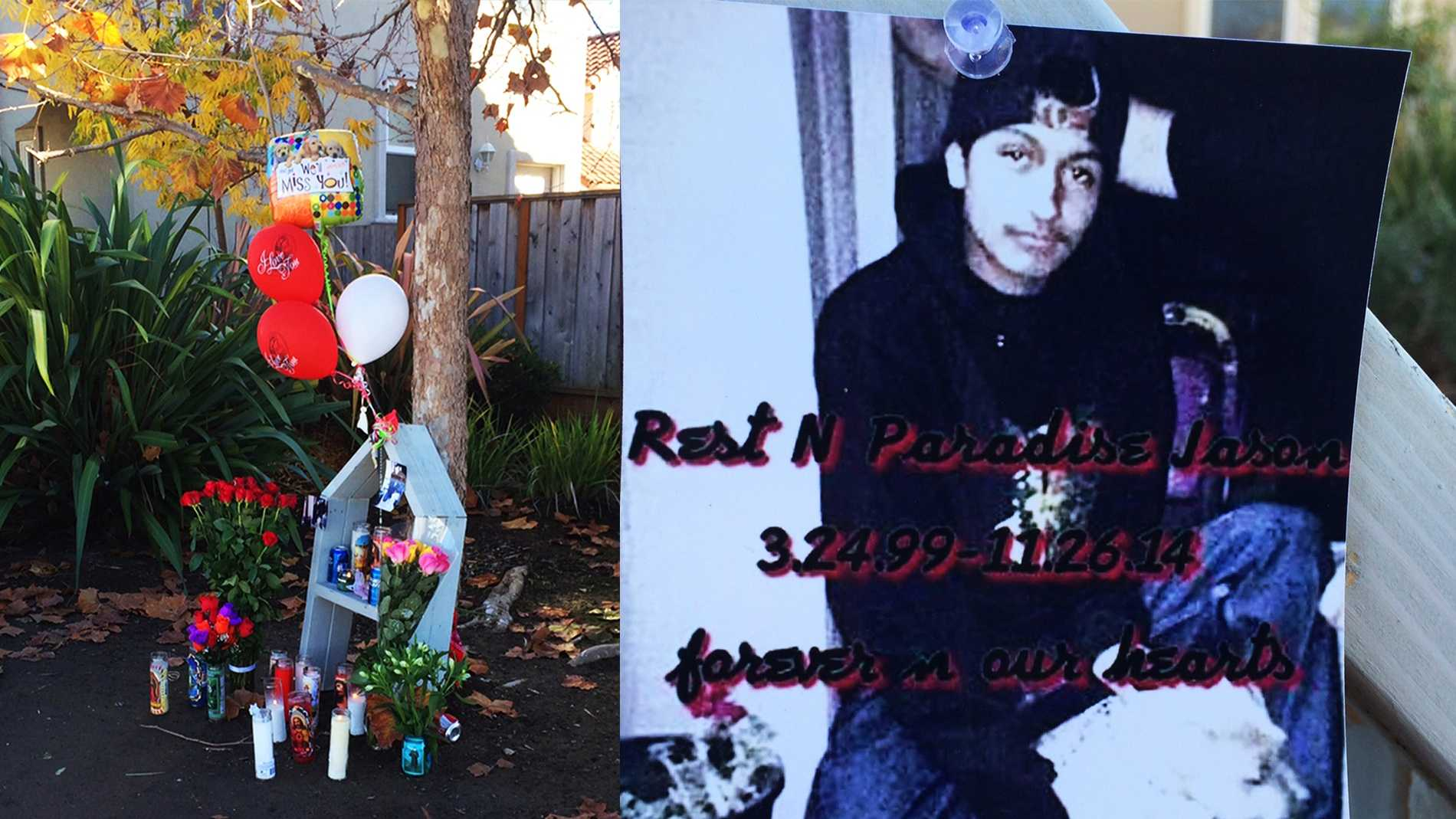 A memorial was made for 15-year-old Jason Reyes where he was killed.