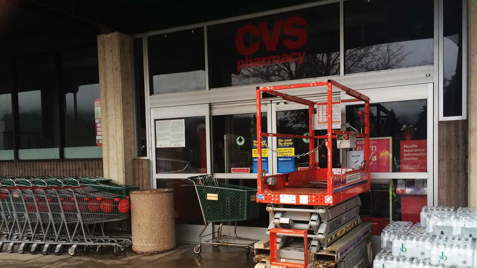 A CVS store in Felton is closed on Wednesday because its roof collapsed.