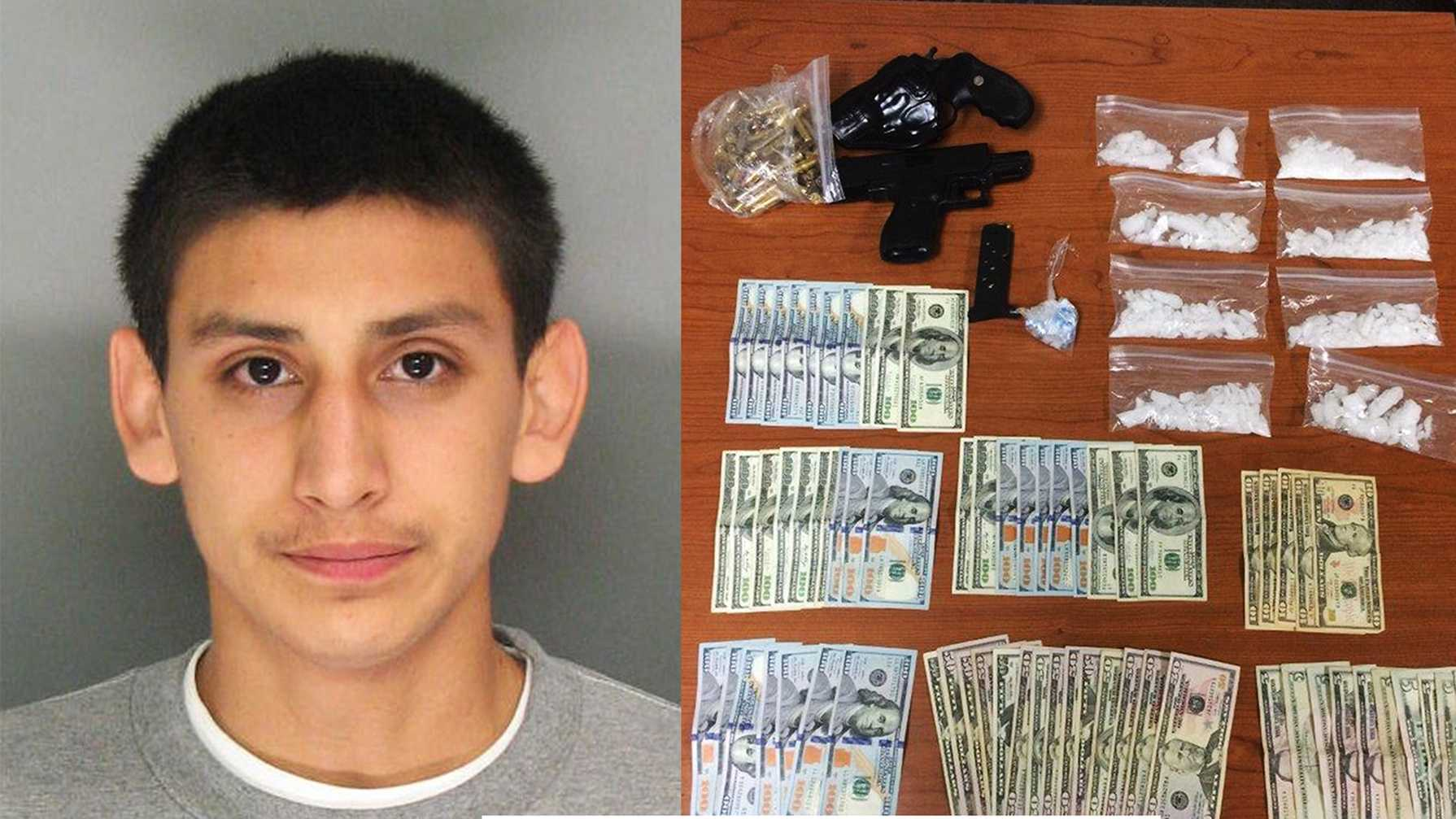 Guillermo Campos, left, was arrested in his criminal justice class at Cabrillo College. Deputies said they seized cash, drugs, and guns, right.