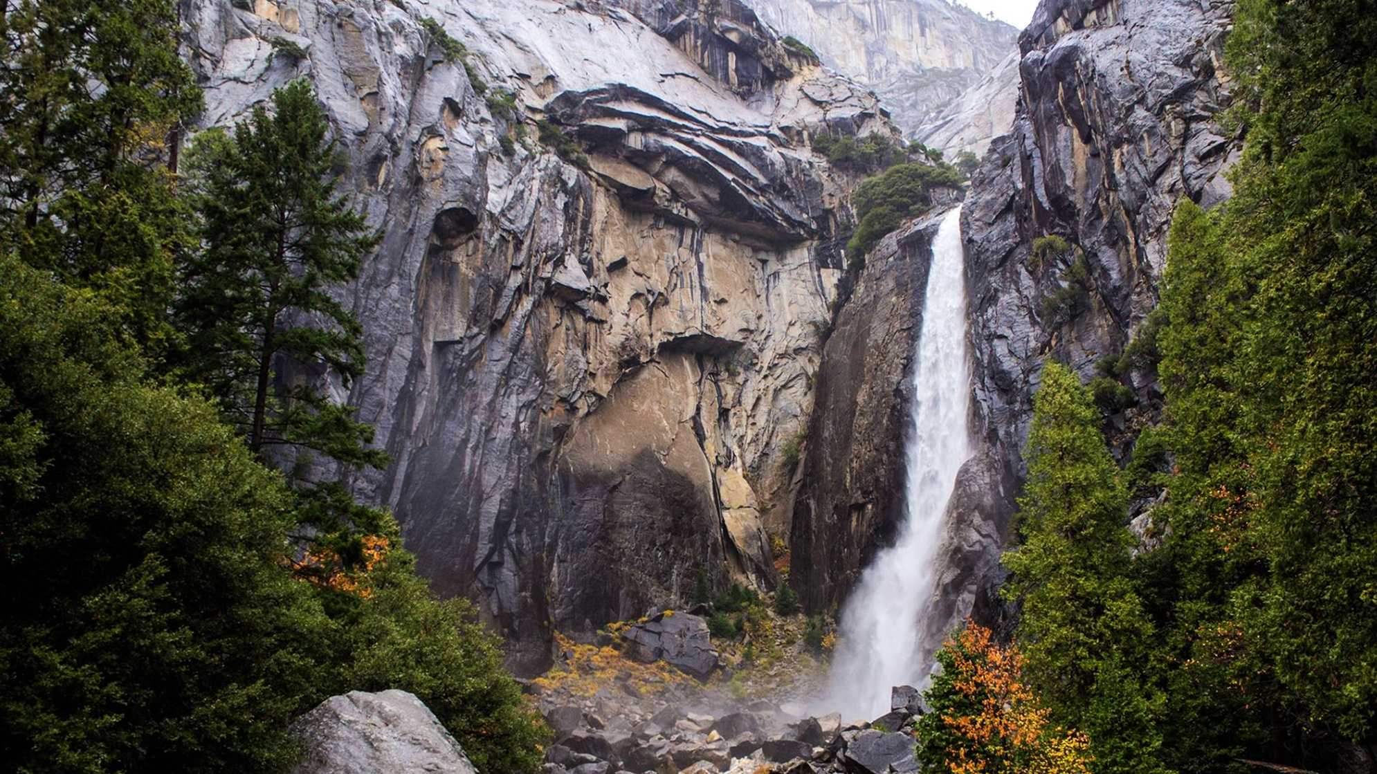 Lower Yosemite Falls is seen in December 2014.