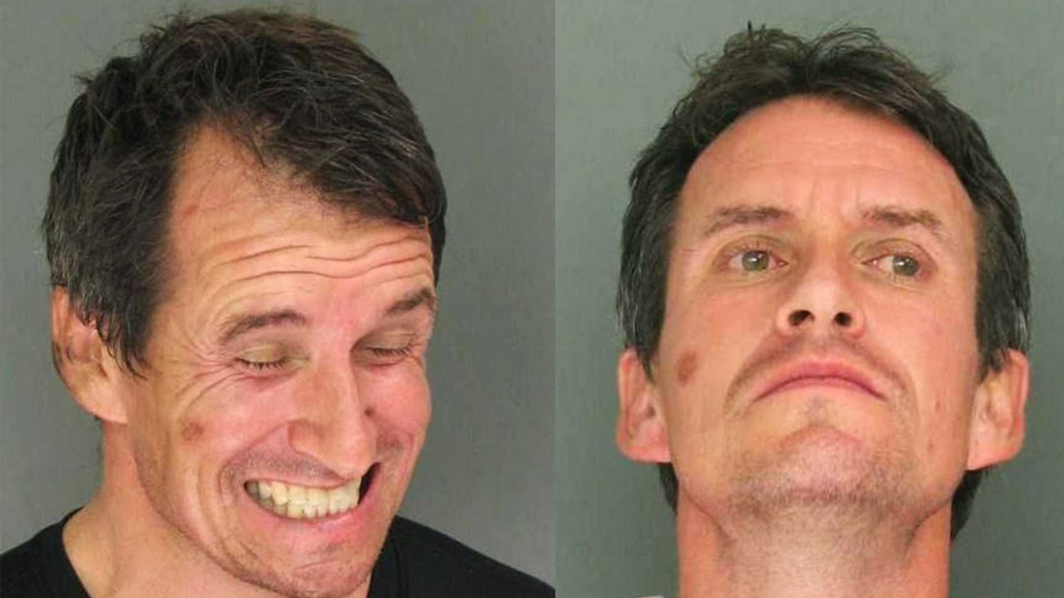 Michael Michel is seen two mug shots from when he was arrested twice on Saturday.