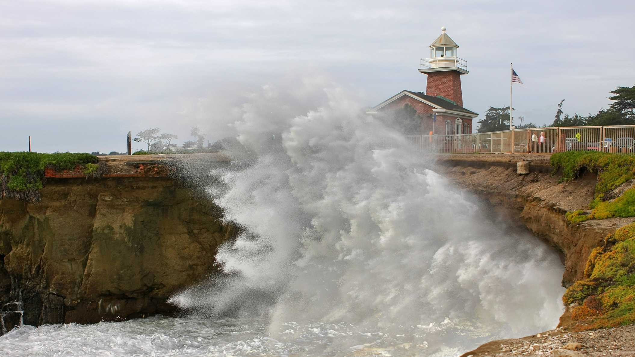 A wave slams into a cliff at Steamer Lane in Santa Cruz on Dec. 9, 2014.