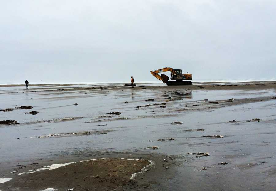 Crews began breaching the Pajaro River, allowing it to drain into the ocean.  Dec. 10