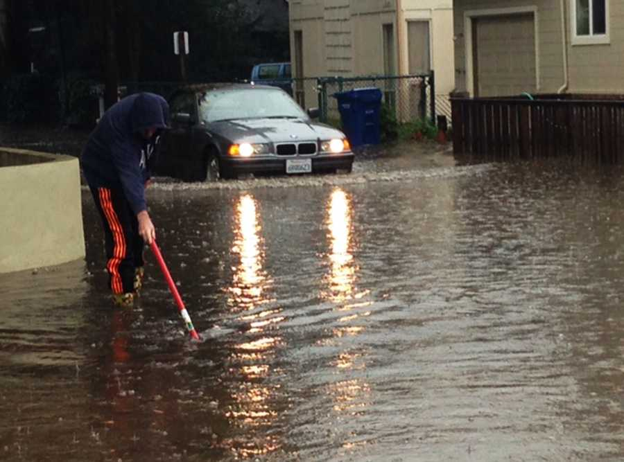 A BMW successfully drove through this wet patch in Rio Del Mar in Aptos.