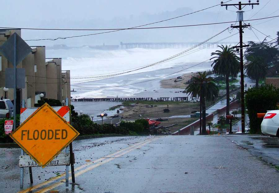 Rio Del Mar was flooded while wild waves battered the cement ship.  Dec. 11.