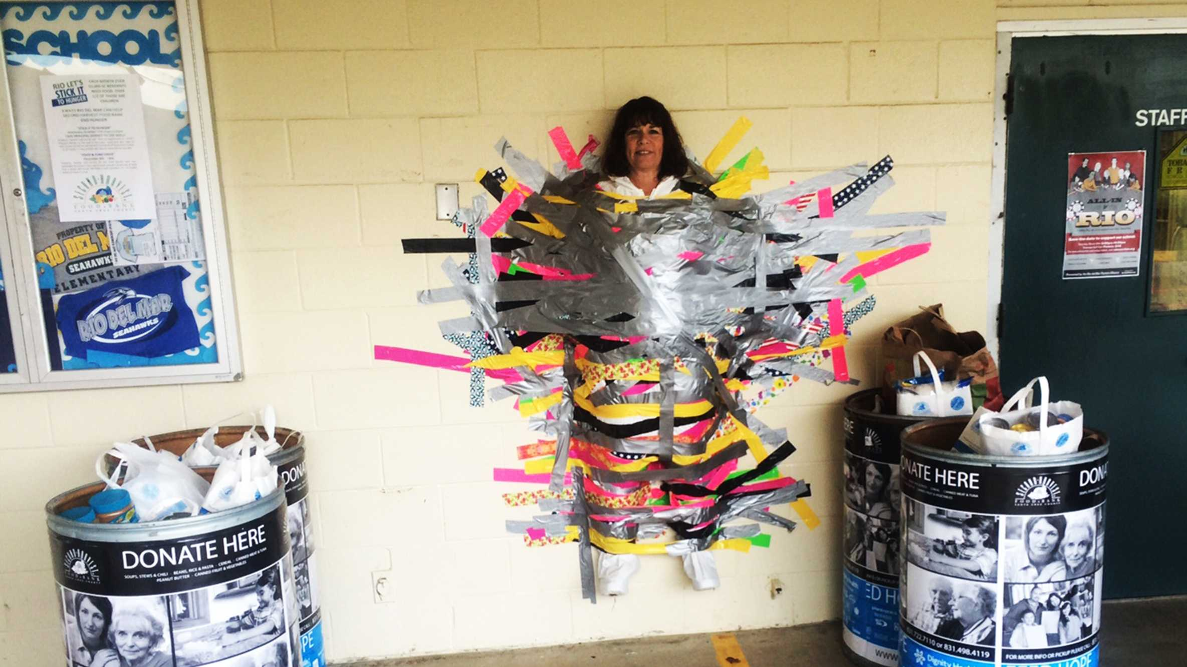 Principal Dorney was taped to a wall at Rio Del Mar Elementary School in Aptos. (Dec. 17, 2014)