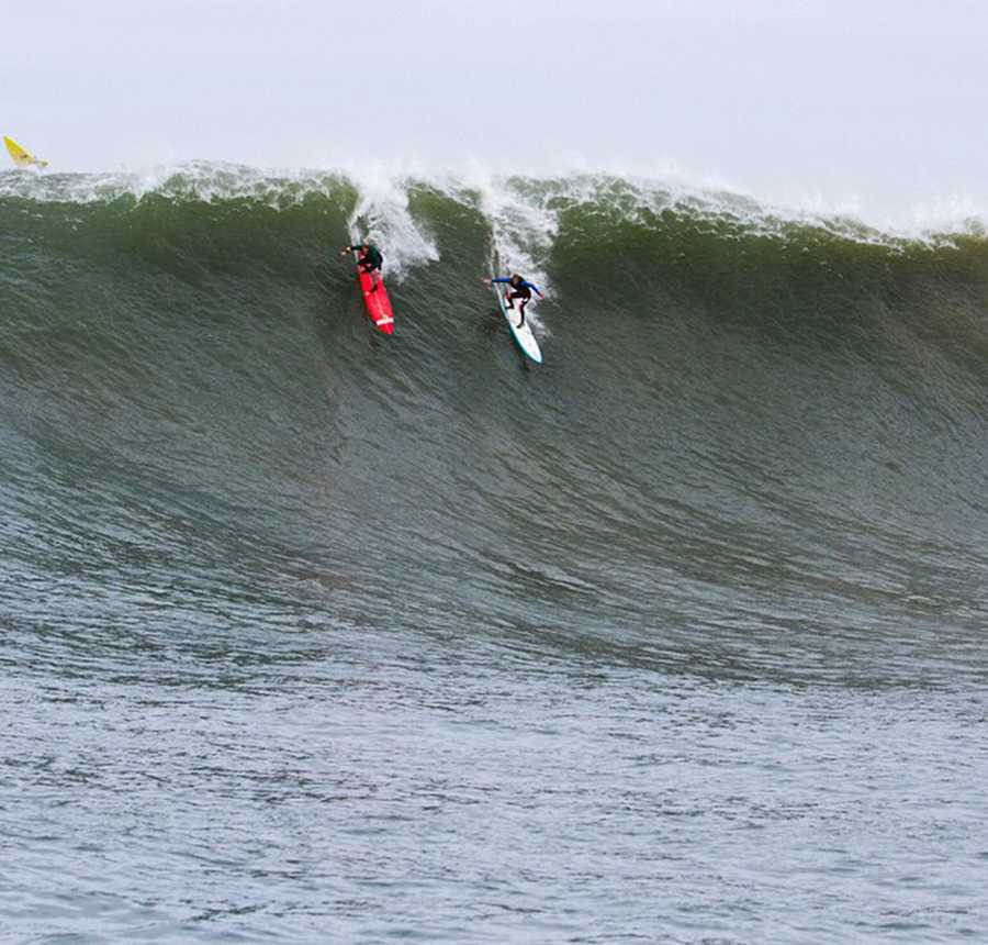 Pat Gudauskas and Matt Becker share a slab.