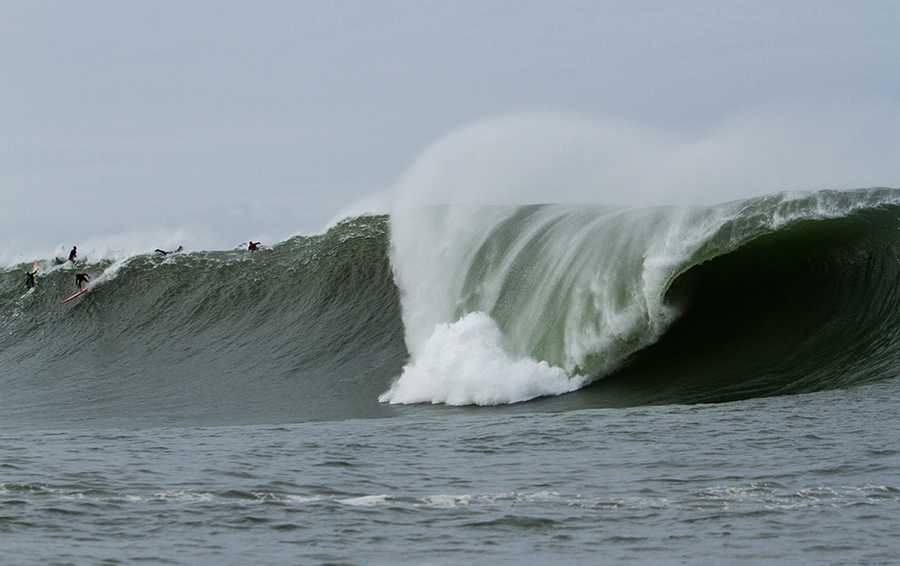 "Surf photographer Frank Quirarte captured some massive moments at Mavericks on Saturday during the biggest swell since 2010.  ""The Half Moon Bay buoy peaked at 20 at 16. This was the result,"" Quirarte said."