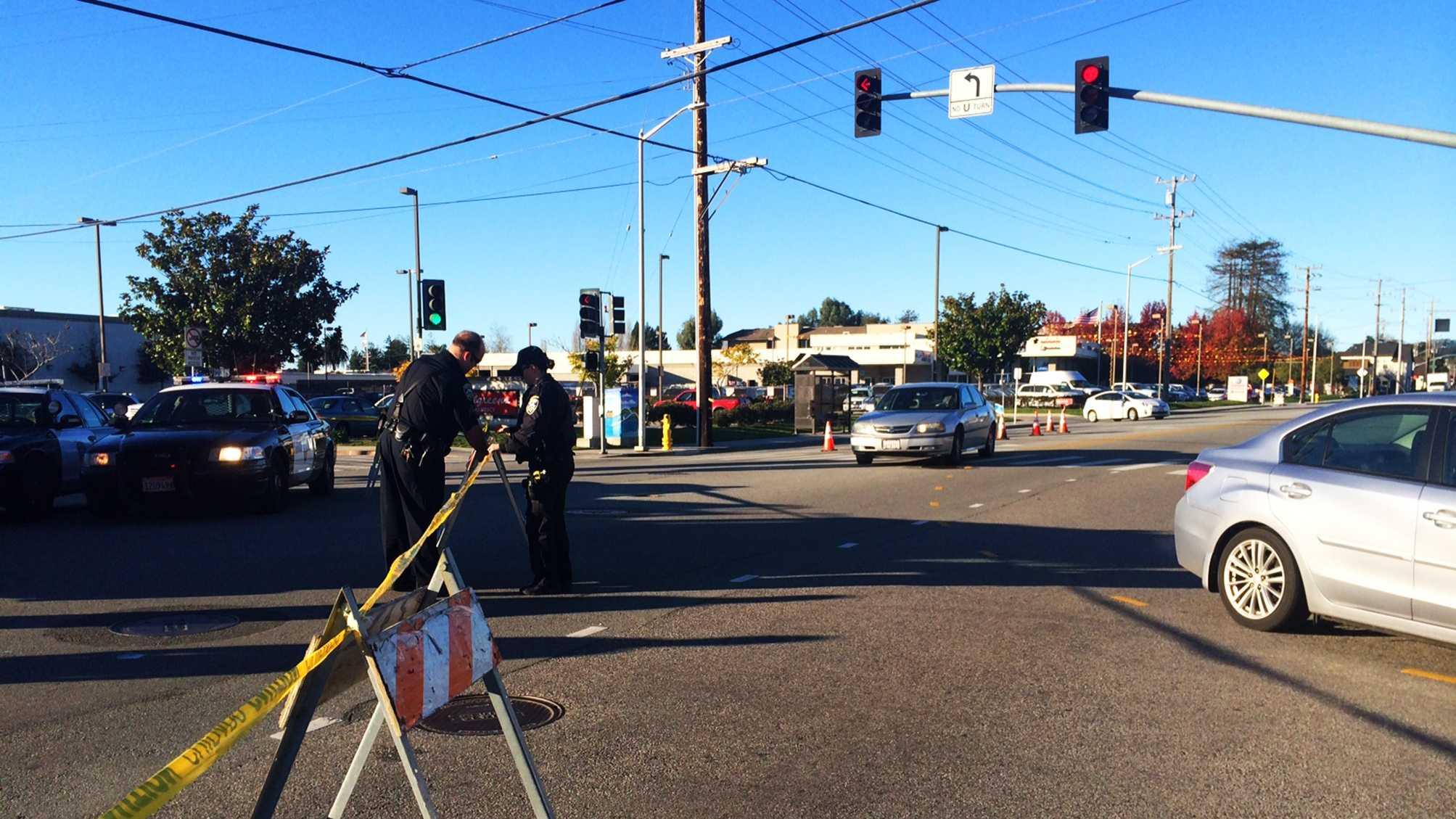 A bicyclist was killed here on Soquel Avenue in Santa Cruz Friday. (Dec. 26, 2014)