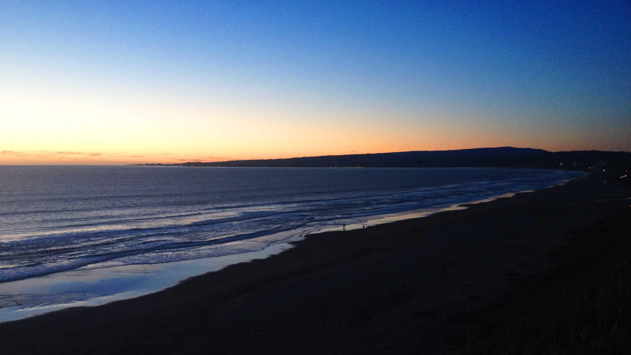 Santa Cruz is seen on the horizon at sunset. Dec. 25, 2014