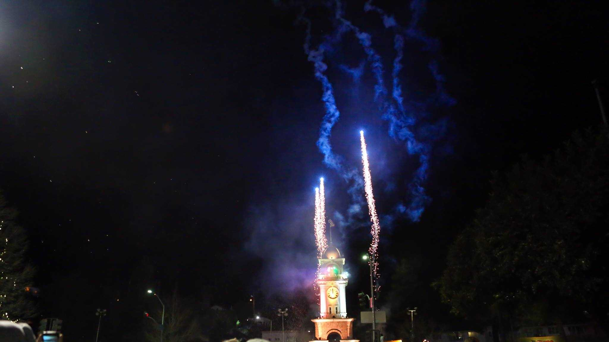 The Santa Cruz Clock Tower lit up at midnight with beautiful fireworks to celebrate 2015.