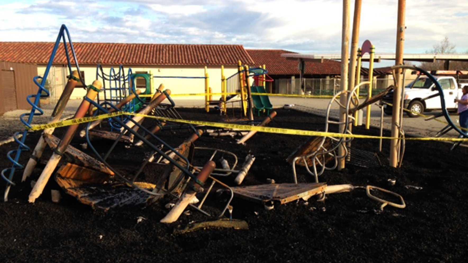 Calaveras Elementary School's playground was burned to the ground.