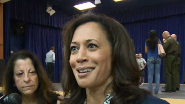 Attorney General Kamala Harris speaks with reporters on July 24, 2014.