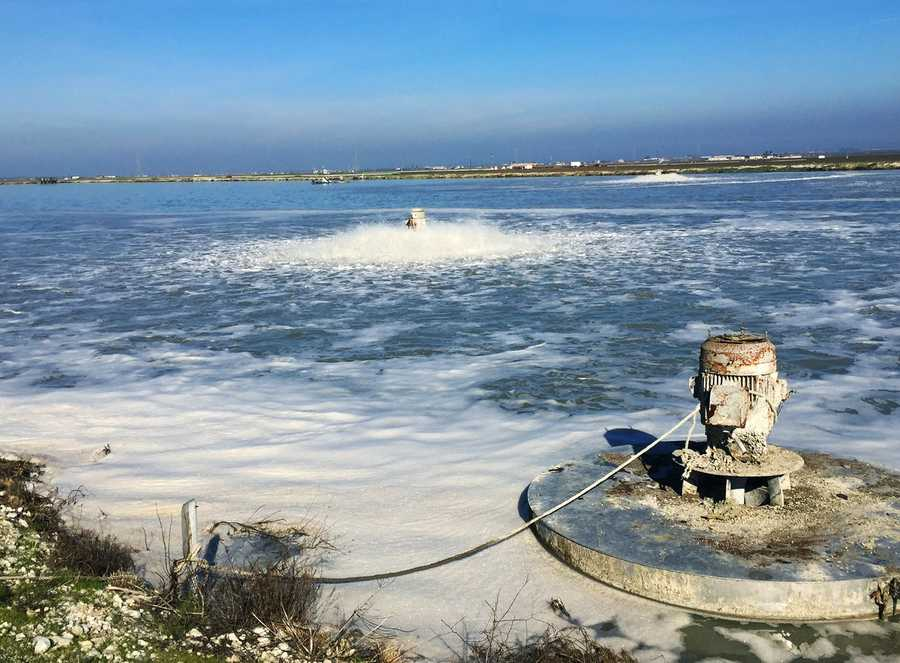Marina Fire Chief Harald Kelly said after talking with workers at several landfills and waste water districts, the big stink was traced back to these sludge ponds in Salinas.