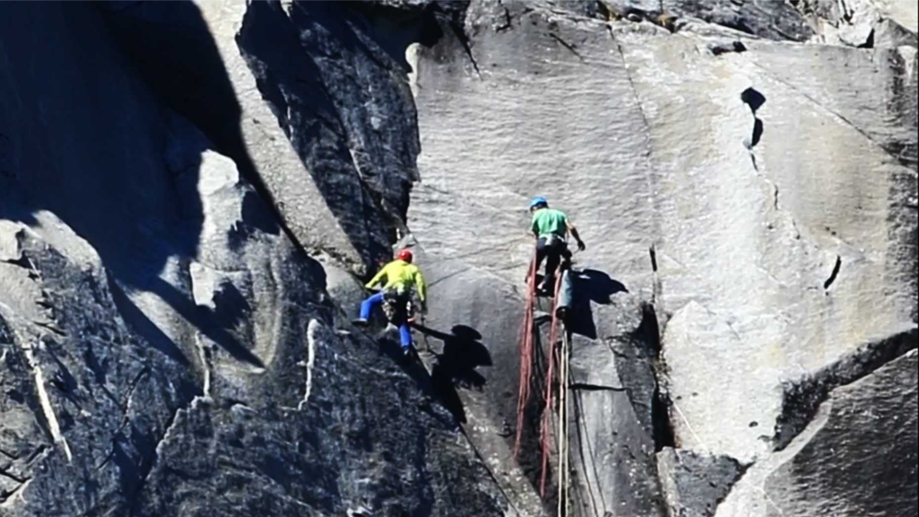 Tommy Caldwell and Kevin Jorgeson are seen completing their Dawn Wall climb Wednesday.