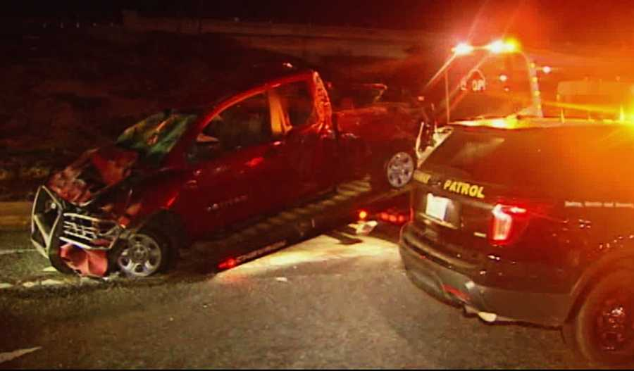 CHP officers said the driver was wearing a seat belt, but his two passengers were not.