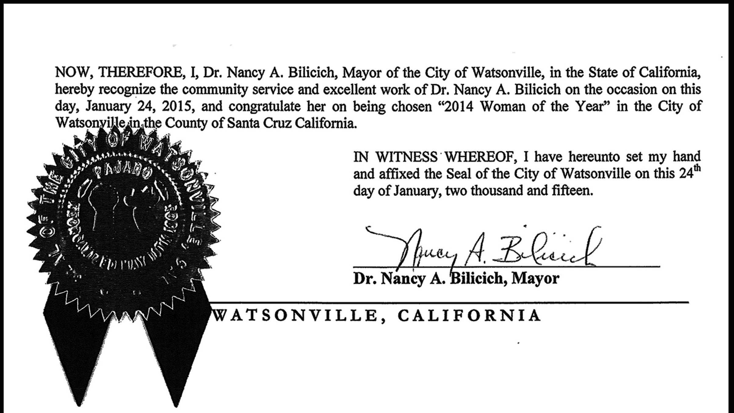 City proclamation forNancy Bilicich, byNancy Bilicich.