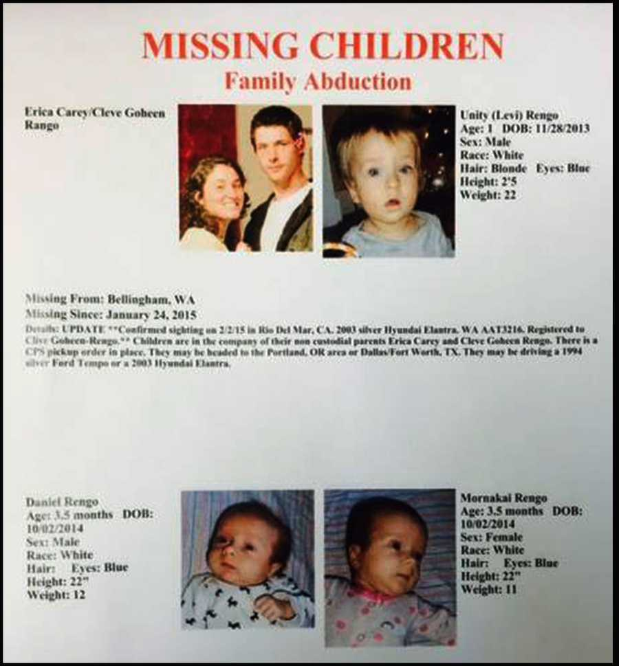 Washington police issued this Missing Child Family Abduction bulletin.