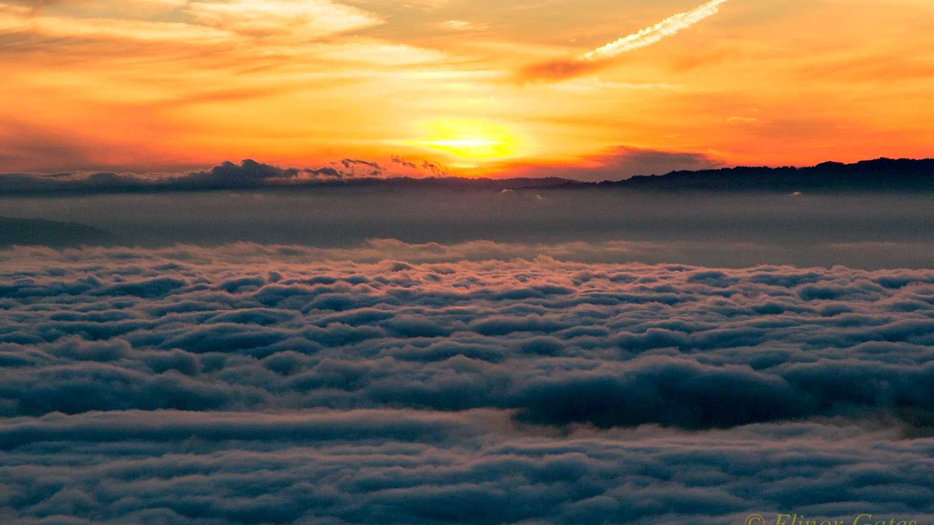 A sweeping view above the clouds at Lick Observatory