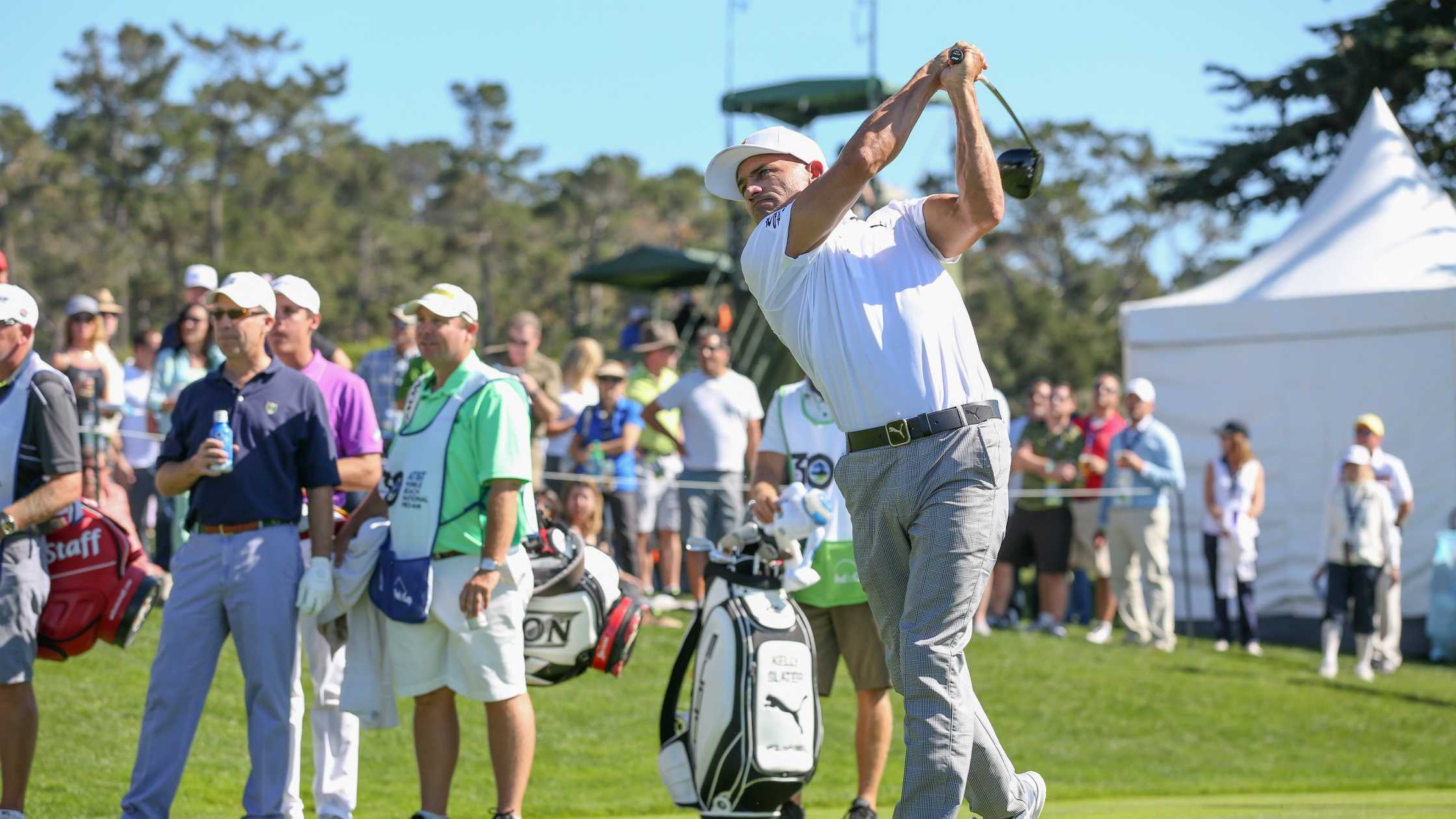 Surfer Kelly Slater impressed the Pebble Beach Pro Am crowd Saturday with his golf skills.