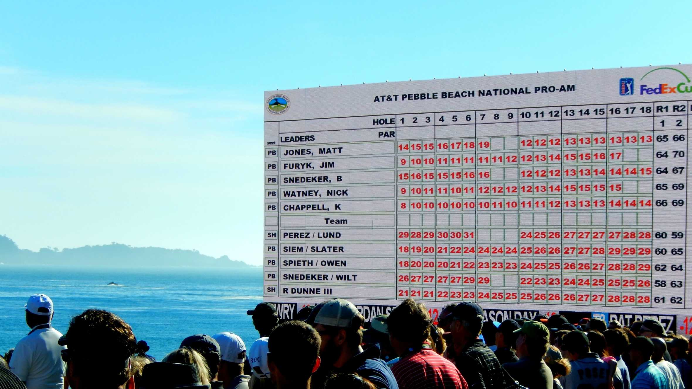 The leaderboard is seen on Saturday afternoon.