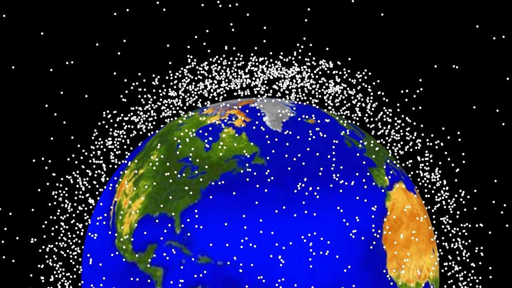 This computer-generated NASA graphic shows objects orbiting Earth orbit that are currently being tracked. Approximately 95 percent of the objects are orbital debris, not functional satellites.
