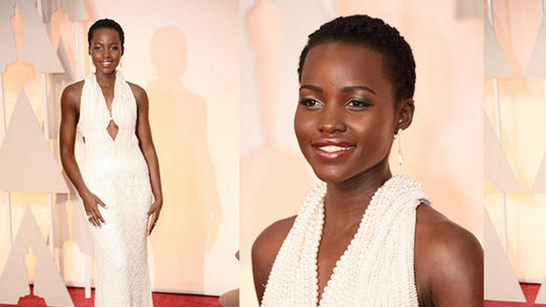 The pearl dress worn by Lupita Nyong'o Sunday night was stolen.